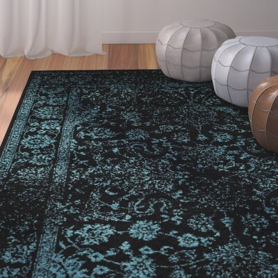 Alisa Black/Teal Area Rug Rug Size: Rectangle 3' x 5'