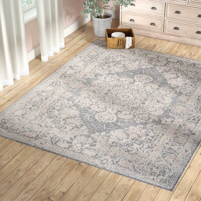 Pellot Light Gray/Cream Area Rug Rug Size: Rectangle 51 x 76