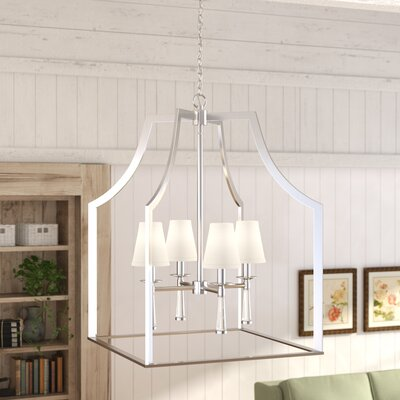 Indimar 4-Light Shaded Chandelier Finish: Polished Nickel