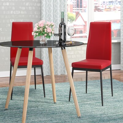 Cerise Modern Upholstered Dining Chair Color: Red