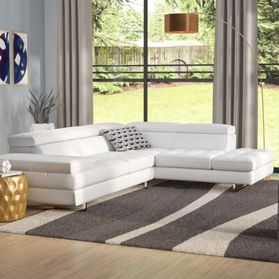 Hugo Leather Sectional Orientation: Right Hand Facing, Upholstery: White