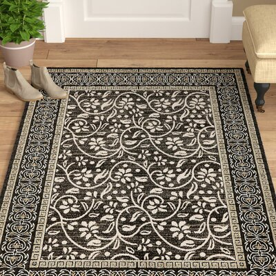 Austin Black Indoor/Outdoor Area Rug Rug Size: Rectangle 9 x 12