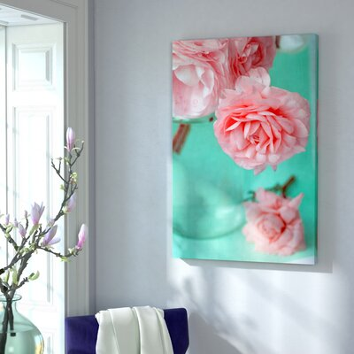 Pink Flowerson Turquoise Graphic Art on Wrapped Canvas Size: 36