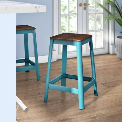 Achilles 25.75 Bar Stool Base Finish: Teal