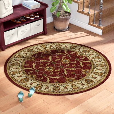 Antwerp Red/Ivory Agra Area Rug Rug Size: Round 53