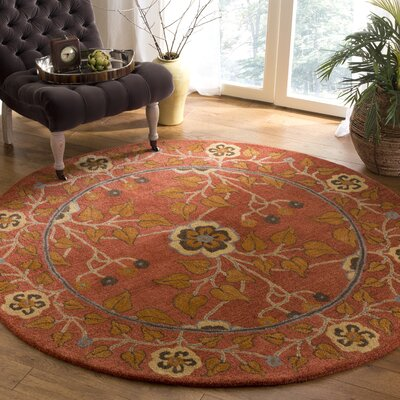 Cranmore Hand-Tufted Red/Orange Area Rug Rug Size: Round 6