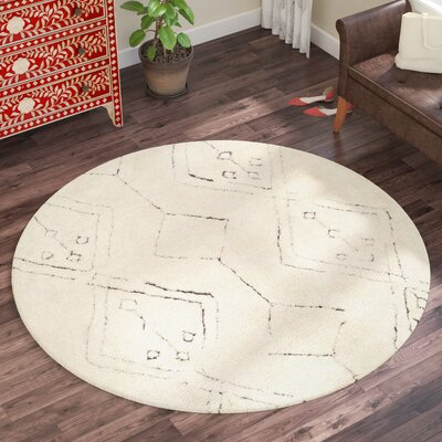 Lockheart Hand-Woven Beige Area Rug Rug Size: Round 6