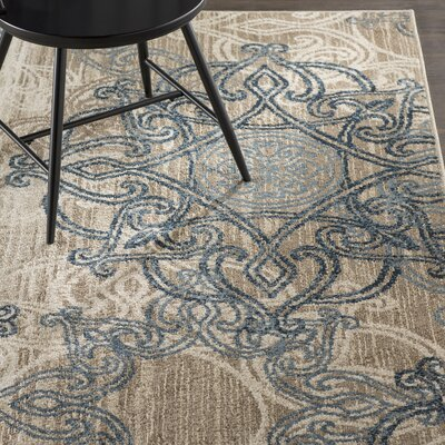 Curtice Ecru/Blue Indoor/Outdoor Area Rug Rug Size: 78 x 1010