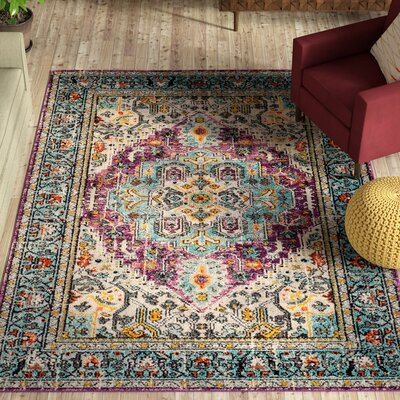 Hackmore Violet/Light Blue Area Rug Rug Size: Rectangle 67 x 92