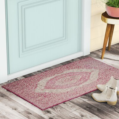 Myers Gray/Fuchsia Indoor/Outdoor Area Rug Rug Size: Rectangle 4 x 57