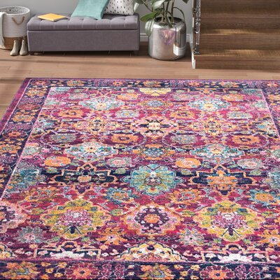 Burdine Fuchsia Area Rug Rug Size: Rectangle 9 x 12