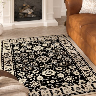 Beasley Black/Creme Outdoor Area Rug Rug Size: Rectangle 4 x 57