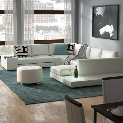 Alana Cork Leather Sectional Upholstery: White
