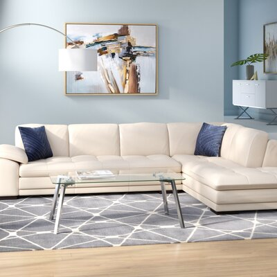 Stockbridge Leather Sectional Upholstery: Beige, Orientation: Right Hand Facing