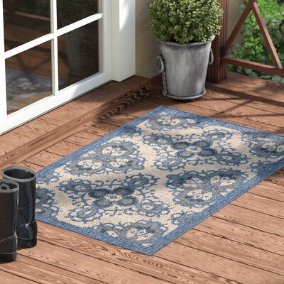 Ashby Ivory/Blue Indoor/Outdoor Area Rug Rug Size: Rectangle 26 x 4