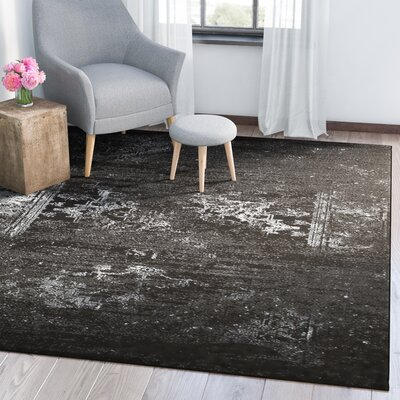 Rockford Black Area Rug Rug Size: 52 x 72