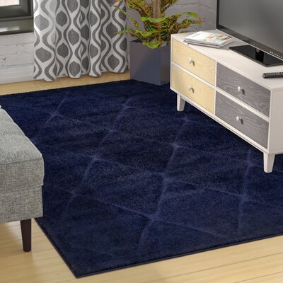 Chester Navy Blue Shag Area Rug Rug Size: Runner 27 x 10