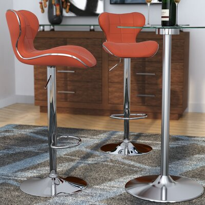 Carty Adjustable Height Swivel Bar Stool Upholstery: Red
