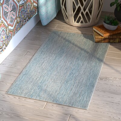 Myers Abstract Gray/Aqua Indoor/Outdoor Area Rug Rug Size: Rectangle 2 x 37