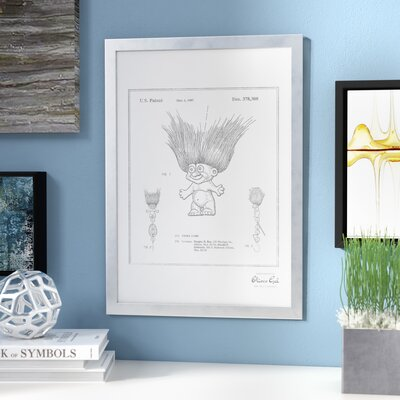 'Troll Lure 1996' Framed Drawing Print in Silver Frame Color: Silver
