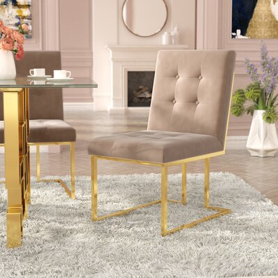 Robey Upholstery Dining Chair Upholstery Color: Beige, Leg Color: Gold