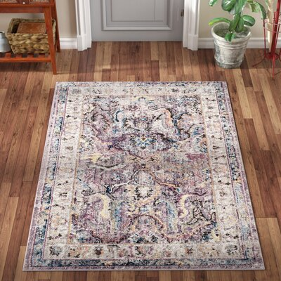 Fitz Lavender/Light Gray Area Rug Rug Size: Rectangle 4' x 6'