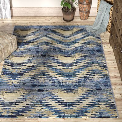 Avila Blue Abstract Indoor/Outdoor Area Rug Rug Size: Rectangle 53 x 8