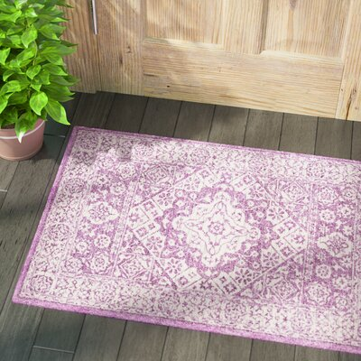 Pearson Hand Hooked Bright Purple/White Area Rug Rug Size: Rectangle 2 x 3