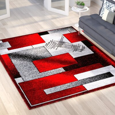 Alycia Gray/Red Indoor/Outdoor Area Rug Rug Size: 8 x 10