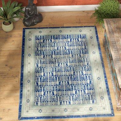 Felicienne Dark Blue Area Rug Rug Size: 37 x 56