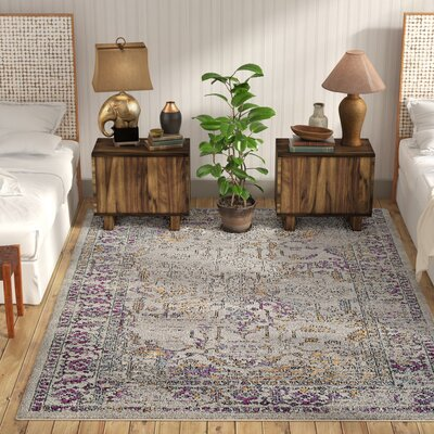 Cassian Taupe/Bright Purple Area Rug Rug Size: Rectangle 7'10