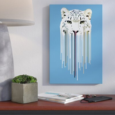 Dripsters Series: Snow Leopard Graphic Art on Wrapped Canvas Size: 12