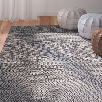 Logan Leather Hand-Woven Light Gray Area Rug Rug Size: Round 4