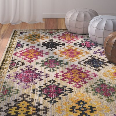 Chana Yellow/Pink Area Rug Rug Size: Round 67