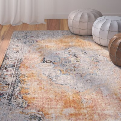 Fitzhugh Orange/Light Gray Area Rug Rug Size: Round 7