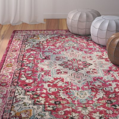 Kilina Fuchsia/Light Blue Area Rug Rug Size: Runner 22 x 12