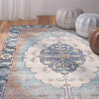 Amanda Hand-Loomed Blue/Coral Area Rug Rug Size: Rectangle 5 x 8