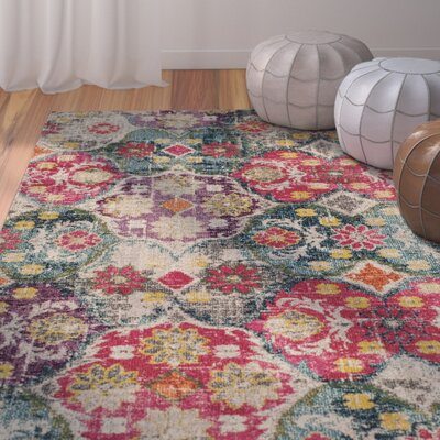 Cabra Gray/Fuchsia Area Rug Rug Size: Rectangle 67 x 92