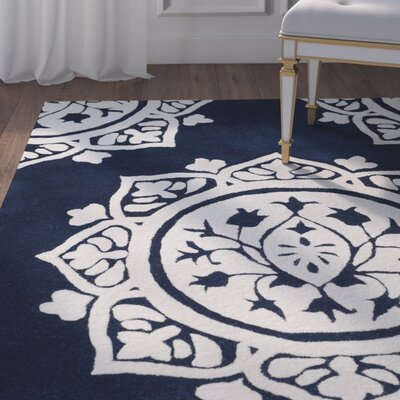 Romford Hand-Tufted Blue Area Rug Rug Size: Square 5'
