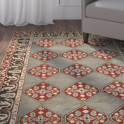 Cranmore Hand-Tufted Gray/Red Area Rug Rug Size: Rectangle 3 x 5