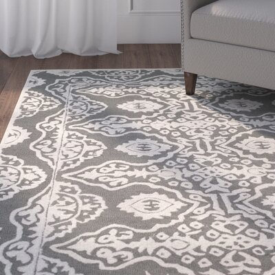 Amundson Hand-Tufted Gray/Ivory Area Rug Rug Size: Rectangle 8' x 10'