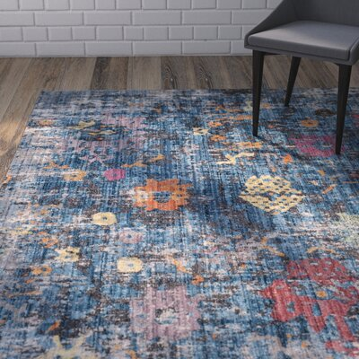Vanalstyne Blue/Light Gray Area Rug Rug Size: Rectangle 4 x 6
