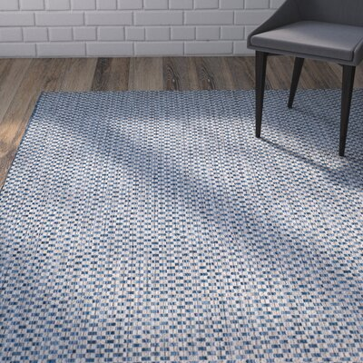 Jefferson Place Blue/Light Gray Outdoor Area Rug in , Round 67
