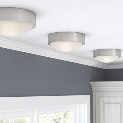 Arboles 1-Light LED Flush Mount Finish: Brushed Nickel, Size: 4 H x 9 W x 9 D