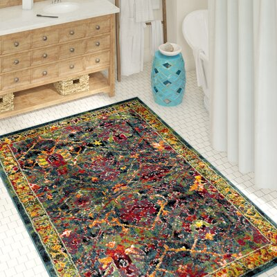 Antoine Blue/Red Area Rug Rug Size: Rectangle 4 x 6