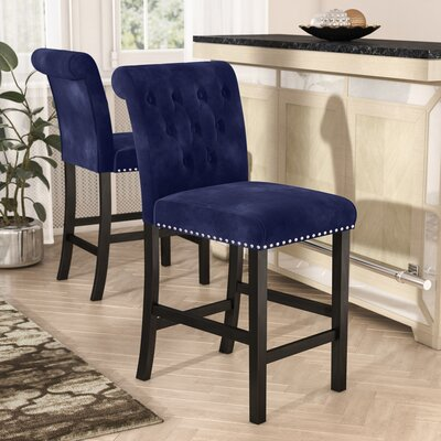 Erling Velvet Counter 26 Bar Stool Upholstery: Ink Navy