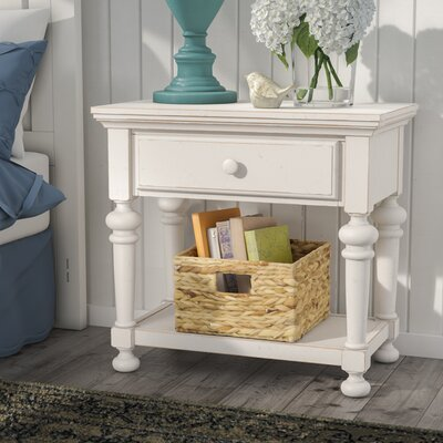 Lia 1 Drawer Nightstand Color: Antique White