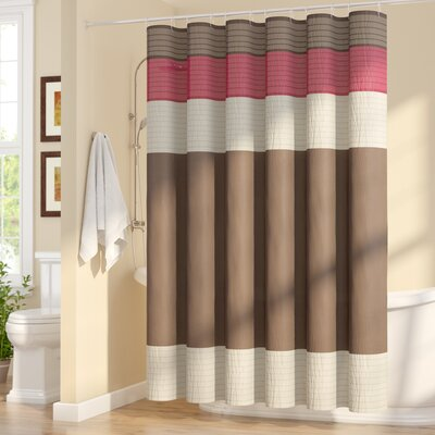 Berardi Shower Curtain Size: 72 W x 72 H, Color: Natural/Monroe Red