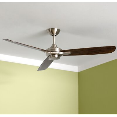 52 Rudolph 3-Blade Ceiling Fan Finish: Brushed Nickel with Maple Blades