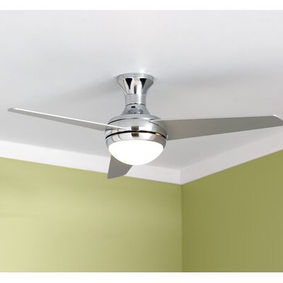 48 Bernabe 3 Blade Ceiling Fan with Remote Finish: Chrome
